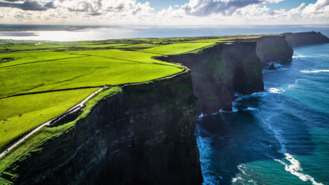 Aerial of Cliffs of Moher in Ireland video