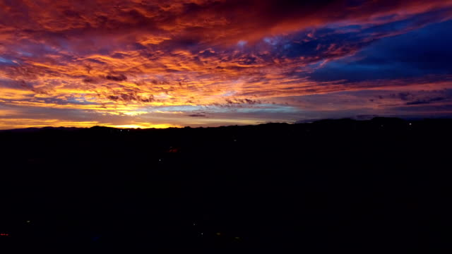 Aerial of Colorful Arizona sky at dusk video