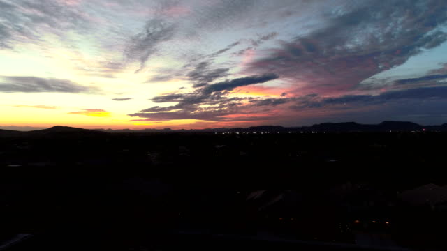 Aerial of Colorful Arizona Sky Over Suburbs video