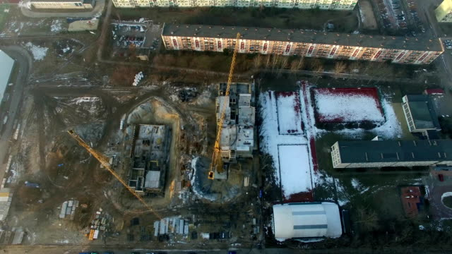 Aerial Of Construction Site in Residential District