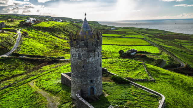 Aerial of Doonagore Castle in Ireland video