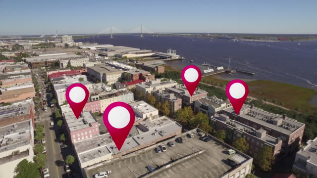 aerial of downtown charleston, south carolina gps markers - aerial map stock videos & royalty-free footage