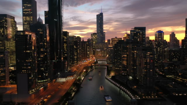 Aerial of Downtown Chicago at Dusk Aerial of Downtown Chicago at Dusk chicago stock videos & royalty-free footage