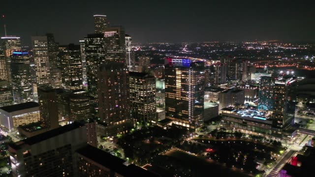 Aerial of Downtown Houston, Texas at Night
