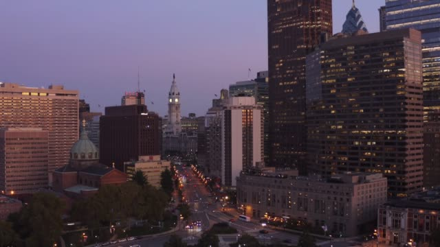 Antenne von Downtown von Philadelphia am Abend – Video