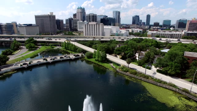 Aerial of downtown Orlando video