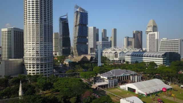 aerial of downtown singapore - singapore architecture stock videos & royalty-free footage