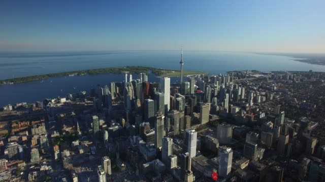Video Aerial of Downtown Toronto Skyline