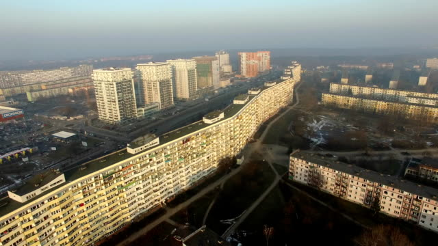 Aerial Of Enormous Residential Block In Densely Populated District