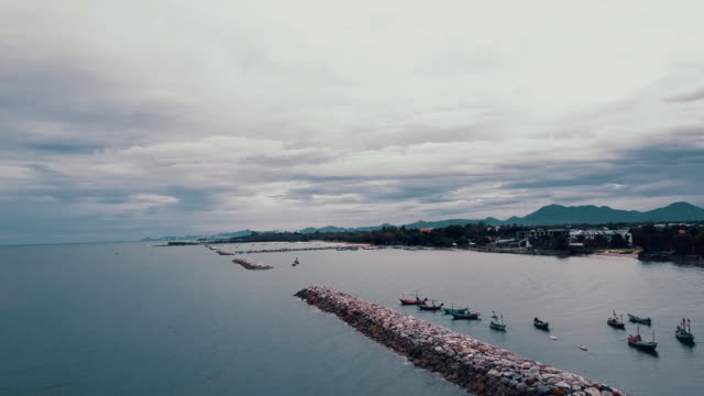 Aerial of fishing boat
