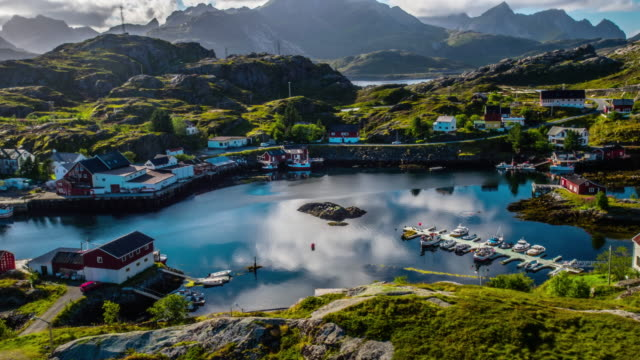 aerial of fishing village at the lofoten islands in norway - nord europeo video stock e b–roll