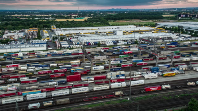 Aerial of Freight Trains in Freight Yard video