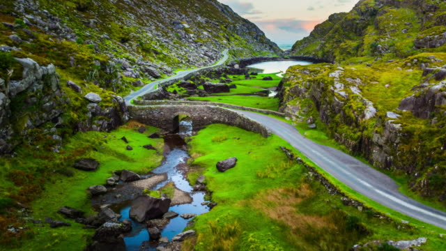 Aerial of Gap of Dunloe, County Kerry, Ireland video