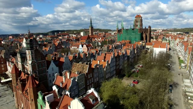 Aerial of Gdansk Old Town Houses Churches and Cathedral video