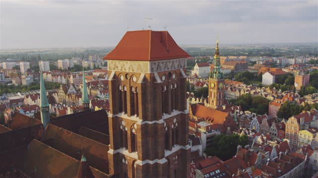 Aerial of Gdansk Old Town Houses Churches and Motlawa River with Old Wooden crane