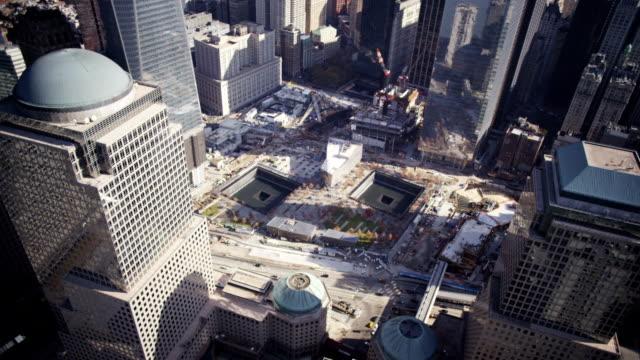 aerial of ground zero - minnesmärke bildbanksvideor och videomaterial från bakom kulisserna