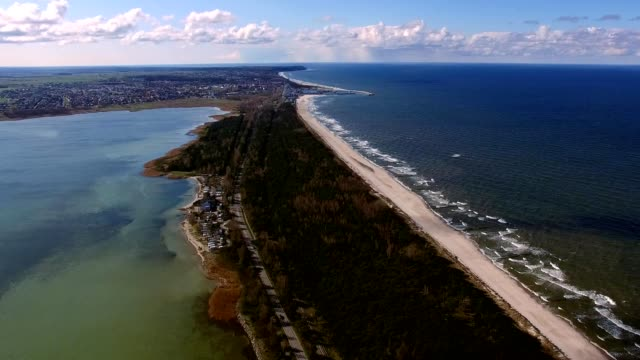 aerial of hel peninsula in poland sandy beaches - penisola video stock e b–roll