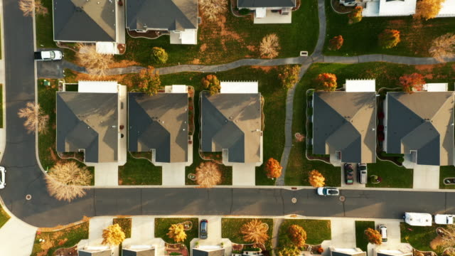 Aerial of Homes in Autumn Sunlight - video