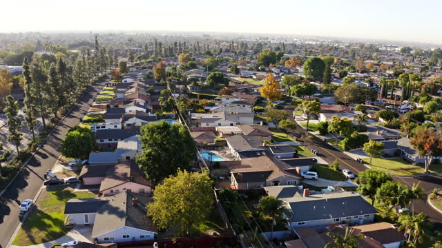 Aerial of Homes in Los Angeles County Aerial of homes in La Mirada in Los Angeles County, California district stock videos & royalty-free footage