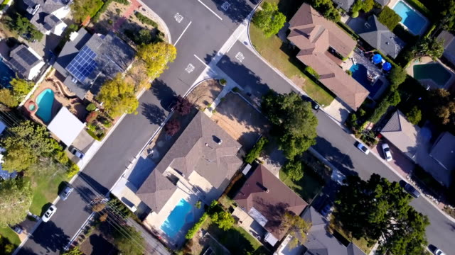 Aerial of Houses and Trees in Residential Neighborhood video