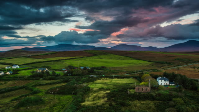 Aerial of Idyllic rural landscape in Ireland video