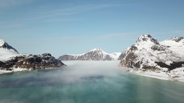 aerial of landscape in lofoten islands,norway - fiordo video stock e b–roll