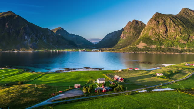 aerial of lofoten islands fjord - fiordo video stock e b–roll