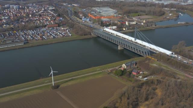 Aerial of Maxau Rhine Bridge in Karlsruhe, Germany video