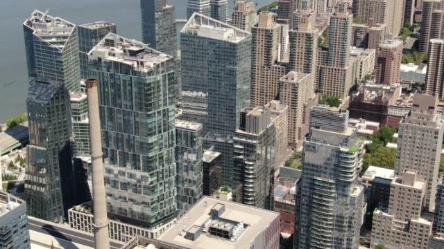 aerial of midtown west, new york city - запад стоковые видео и кадры b-roll