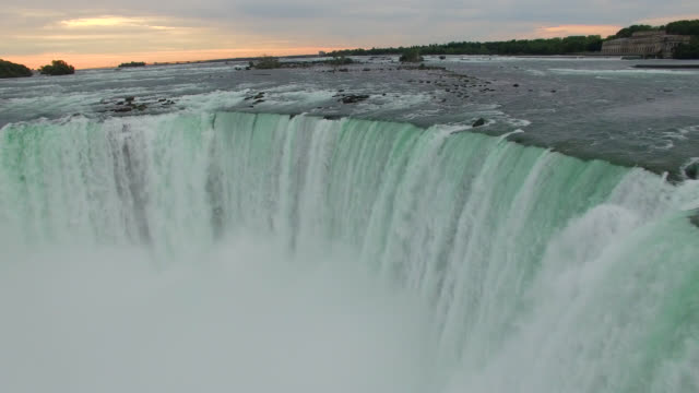 Aerial of Niagara Falls At Sunrise