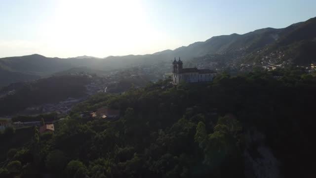 Aerial of Ouro Preto city in Minas Gerais, Brazil video