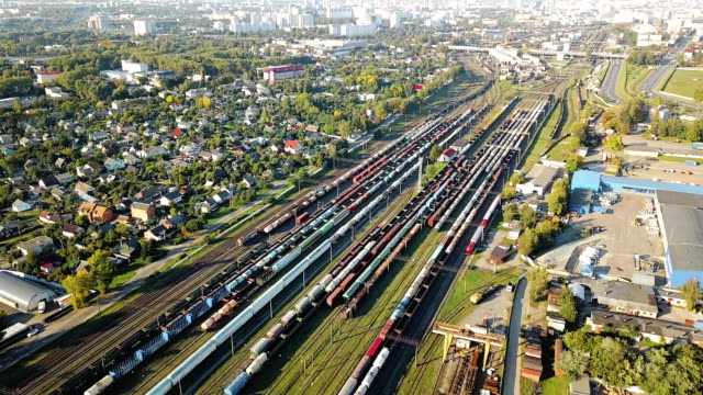 Aerial of railroad hub or railway terminal static bird-eye footage.