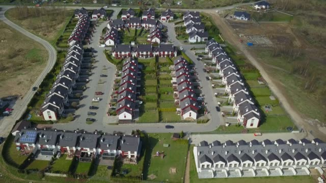 Aerial of Residential Neighbourhood and Houses Suburb