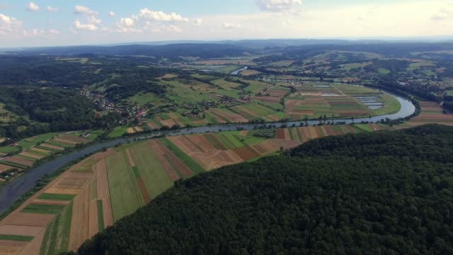 aerial of river and hills landscape in the summer - polonia video stock e b–roll