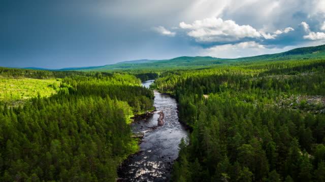 aerial floden i boreal skog - scandinavia - swedish nature bildbanksvideor och videomaterial från bakom kulisserna