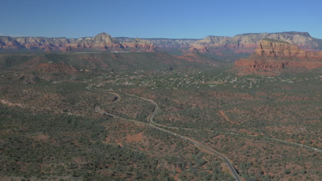Aerial of roads and hills near Sedona