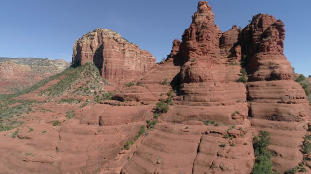 aerial of sedona with the sandstone formations - red rock video stock e b–roll