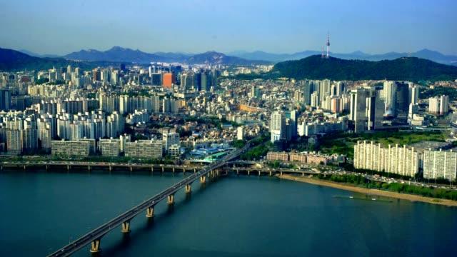 Aerial of Seoul City Skyline, South Korea Sony FS7 namsan seoul stock videos & royalty-free footage