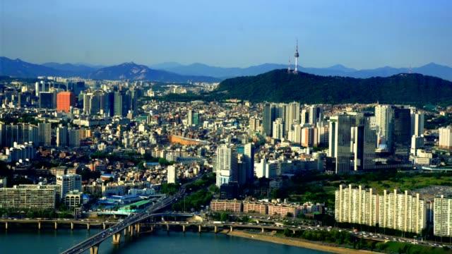 Aerial of Seoul City Skyline, South Korea video