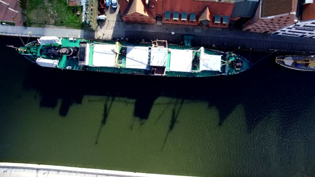 Aerial of Ships on Old Town River video