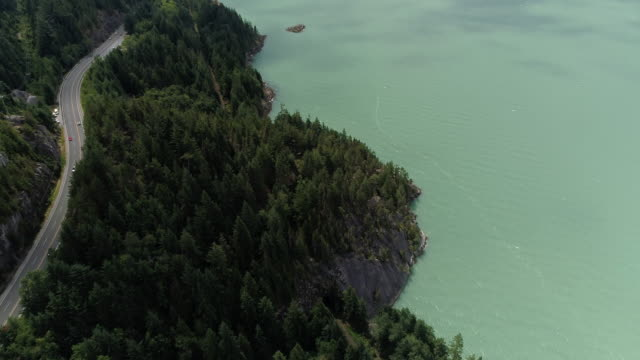 Aerial of Small Town on Sea to Sky Highway Along Howe Sound in British Columbia video