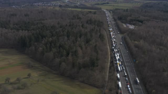 Aerial of Stupferich and Autobahn A8 close to Karlsruhe Aerial of Stupferich and Autobahn A8 close to Karlsruhe with pan from Stupferich to Autobahn. autobahn stock videos & royalty-free footage