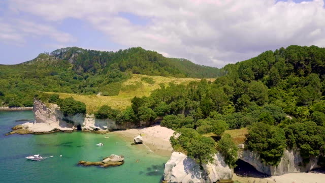Aerial of Te Whanganui-A-Hei (Cathedral Cove) Marine Reserve in Coromandel Peninsula North Island, New Zealand. video