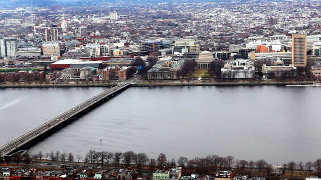 Aerial of the city of Boston along the Charles River video