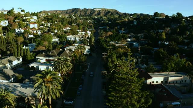 antenn av hollywood sign los angeles kalifornien palm trees day - hollywood sign bildbanksvideor och videomaterial från bakom kulisserna