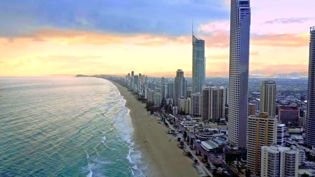 Aerial of the Surfers Paradise skyline on Queensland's Gold Coast video