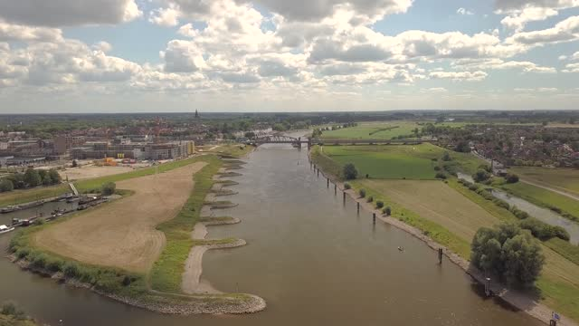 Aerial of the Zutphen Railway bridge at the river IJssel in the Netherlands