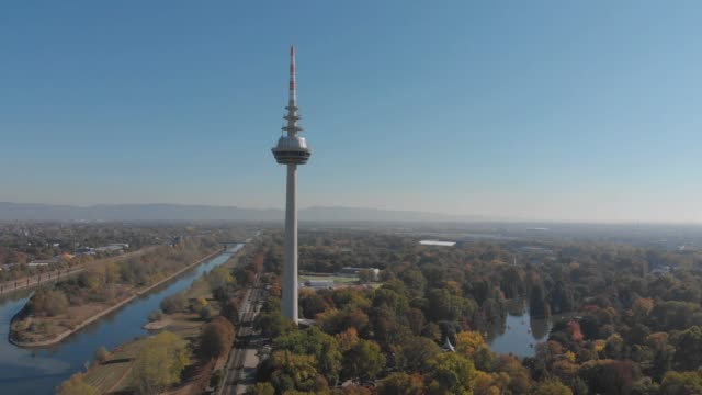 Aerial of TV tower and Louisen Park in Mannheim video