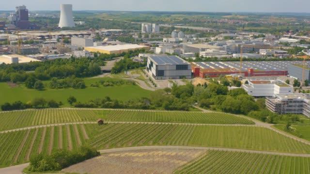 Aerial of vineyards around Neckarsulm in Germany video