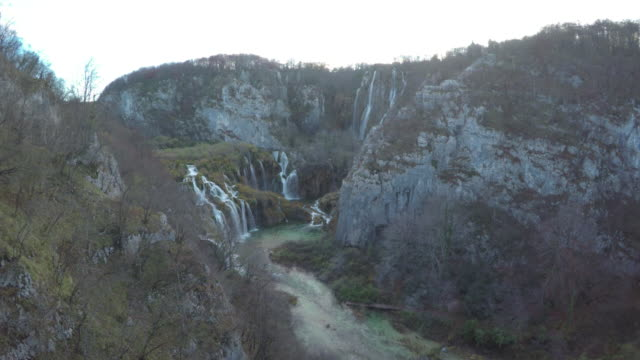 Aerial of waterfalls and river, Plitvice Park